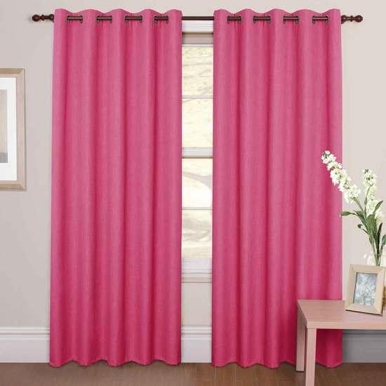 Плотные розовые шторы
