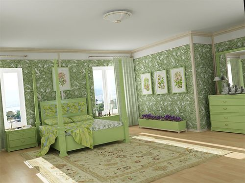 шторы фото к салатовым обоям