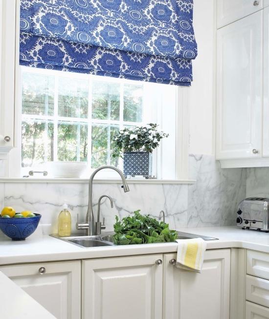 Шторы для синей кухни