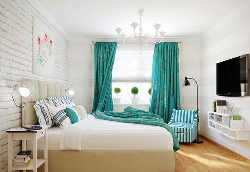 Шторы в спальне бирюзового цвета