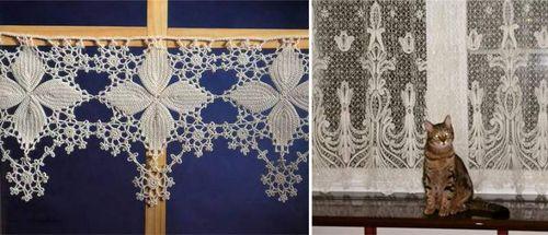 схема вязанных штор на кухню