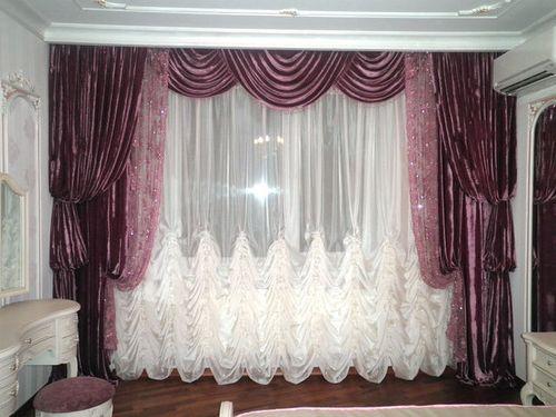 сшить шторы в зал с ламбрекенами фото